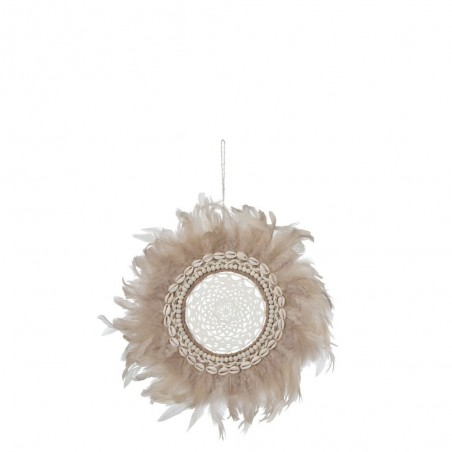 Attrape-Reves Boho Plumes/Coquillages Saumon