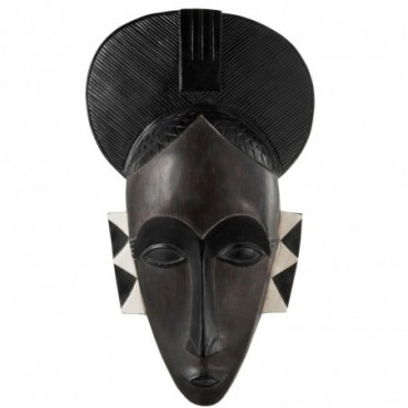Masque Femme Africain Suspendu Resine Noir