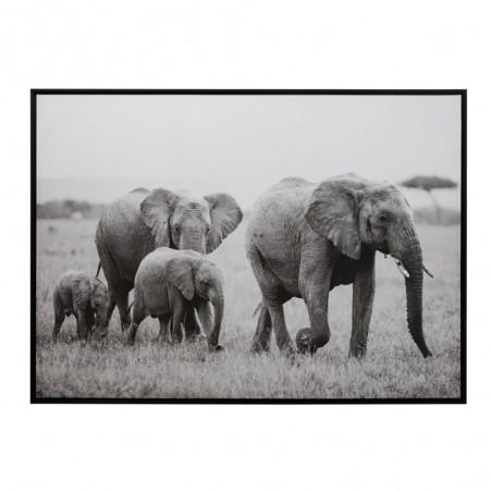 Cadre Elephant Bois/Papier Noir/Blanc