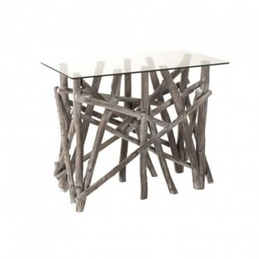 Console Rectangulaire Branches Bois/Verre Grey Wash