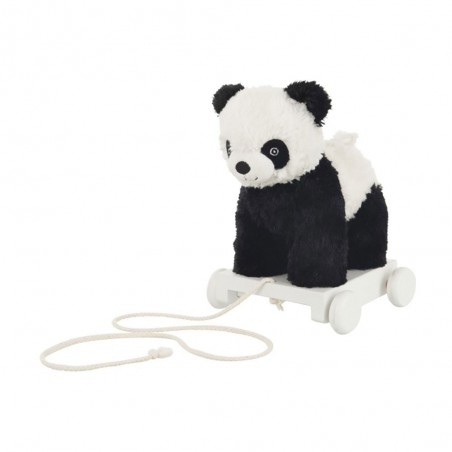 Panda Sur Charriot Peluche Noir/Blanc