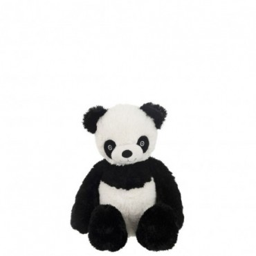 Panda Assis Peluche Noir/Blanc M