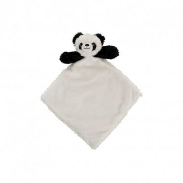 Doudou Carré Panda Peluche Noir/Blanc
