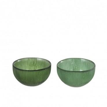 Bol Deco Rond Stries Verre Vert (Assortiment de 2)