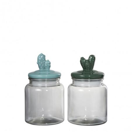 Pot Cactus Verre Vert Mix S (Assortiment de 2)