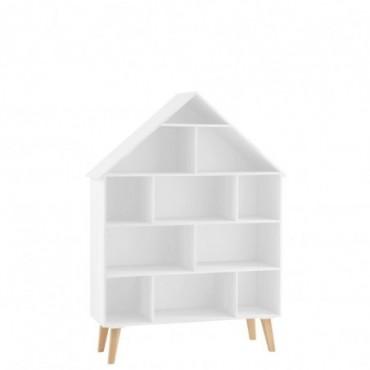 Étagère Maison Sur Pied 5 Planches Bois /Contreplaqué Blanc