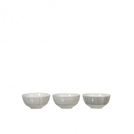 Bol Lignes Porcelaine Blanc/Noir S (Assortiment de 3)