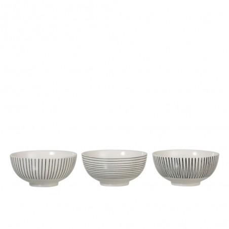 Bol Lignes Porcelaine Blanc/Noir L (Assortiment de 3)