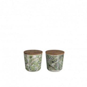 Pot + Couvercle Tropical Bambou Vert S (Assortiment de 2)