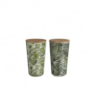 Pot + Couvercle Tropical Bambou Vert L (Assortiment de 2)