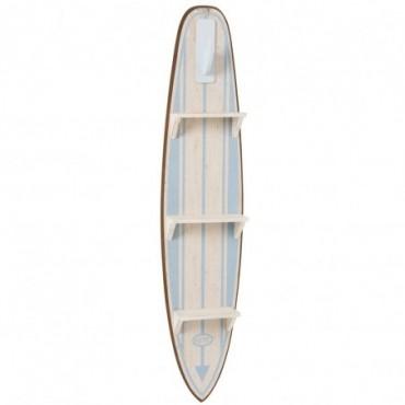 Etagere Planche De Surf Bois Blanc/Bleu Clair