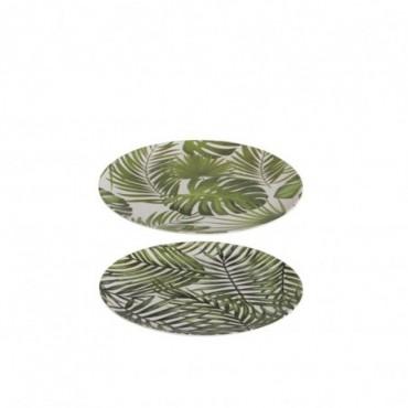 Assiette Tropical Bambou Vert S (Assortiment de 2)