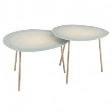 Set 2 Tables Gigognes Metal Laque Bleu Clair