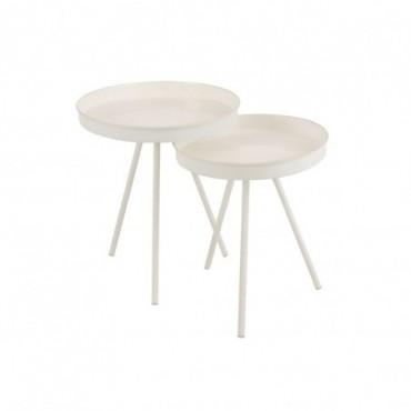 Set 2 Tables Gigognes Metal Mat Laque Blanc