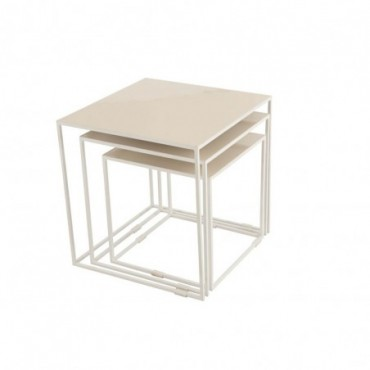 Set 3 Tables Gigognes Metal Laque Beige
