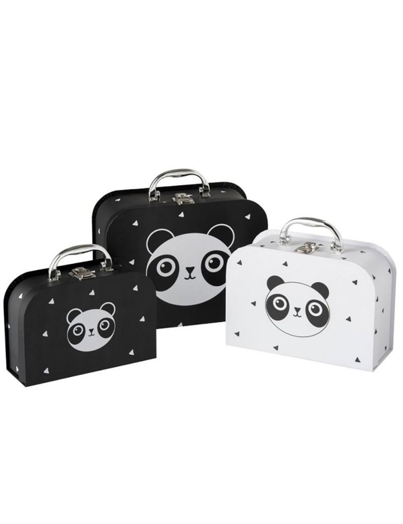 Set de 3 valises Panda Papier Noir/Blanc
