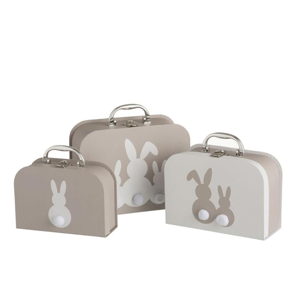 Set de 3 valises Lapin Papier Gris