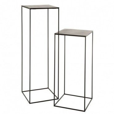 Set De 2 Table Gigogne Haute Carree Oxidize Aluminium/Metal Antique...