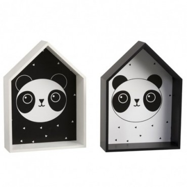 Decoration murale Panda Bois Blanc/Noir (Assortiment de 2)