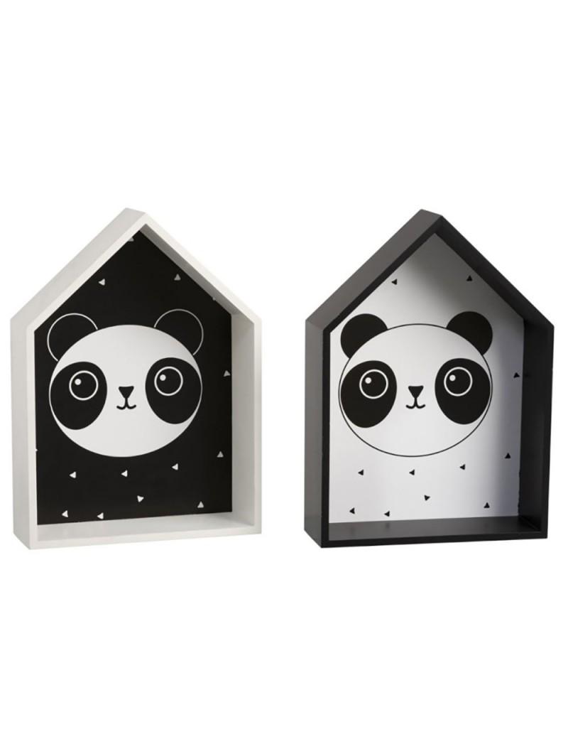 Decoration murale Panda Bois Blanc/Noir (Assortiment de 2)