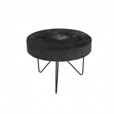 Table Gigogne Ronde Paulownia Noir Small