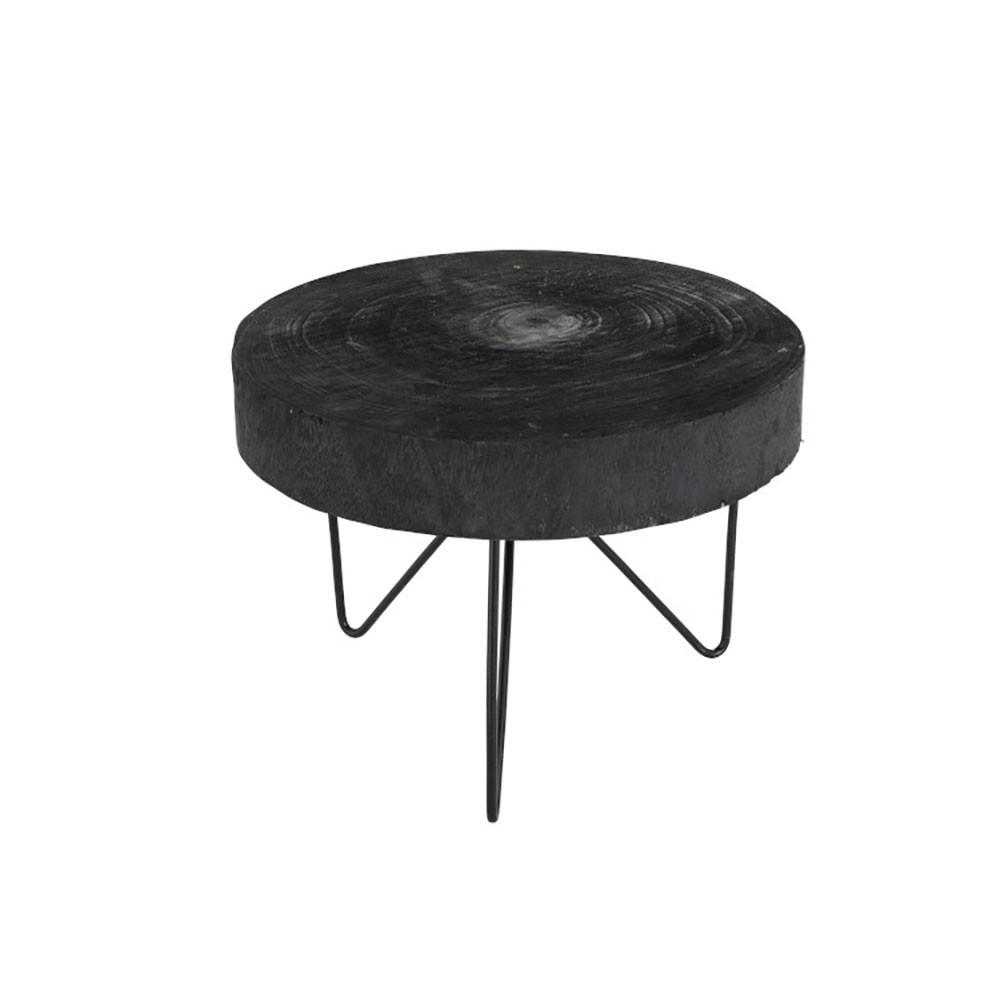 Table Gigogne Ronde Paulownia Noir Small