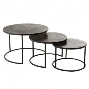 Set De 3 Table Gigogne Ronde Oxidize Aluminium/Metal Antique Noir/Vert