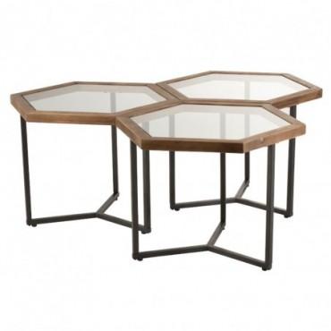Set De 3 Tables D'Appoint Hexagone Verre/Bois Marron