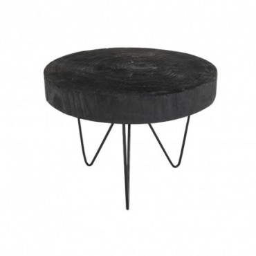 Table Gigogne Ronde Paulownia Noir Large
