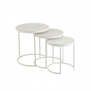 Set De 3 Tables Gigognes Hautes Metal/Mdf Blanc