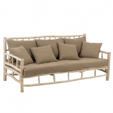 Sofa 3 personnes Tek + Textile Naturel/Marron