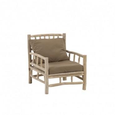 Sofa 1 personne Tek + Textile Naturel/Marron