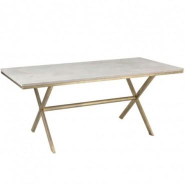 Table A Manger Dyca Bois De Manguier/Metal Blanc/Or