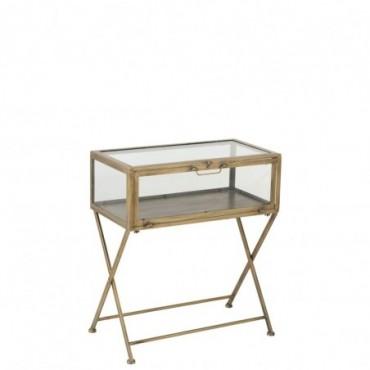 Table vitrine 1 Porte Metal/Verre Antique Or