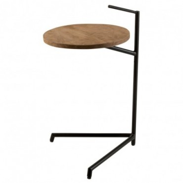 Table d'appoint Bistro Ronde Bois De Manguier/Metal Naturel/Noir