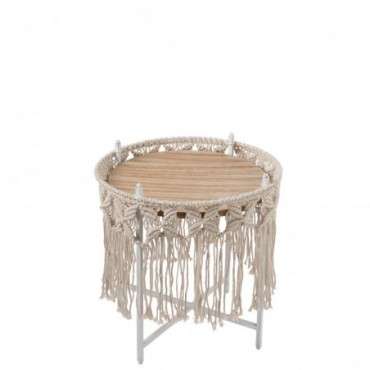Table d'appoint Boho Metal Ecru Petite taille