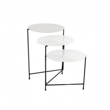 Table Ronde 3 Parties Metal Laque Blanc