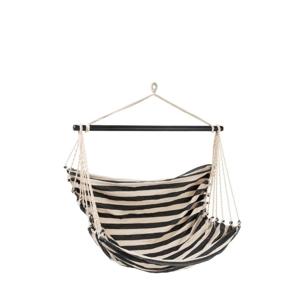 Chaise Suspendue Ligne Coton Noir/Blanc