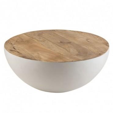 Table Ronde Bois De Manguier/Metal Naturel/Blanc Grande taille
