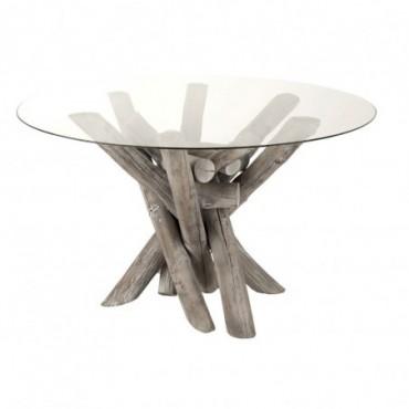 Table Ronde Branche Bois/Verre Grey Wash