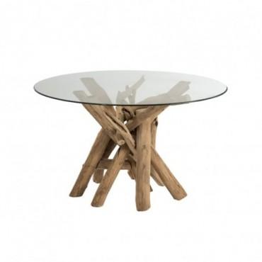 Table Ronde Branche Bois/Verre Naturel
