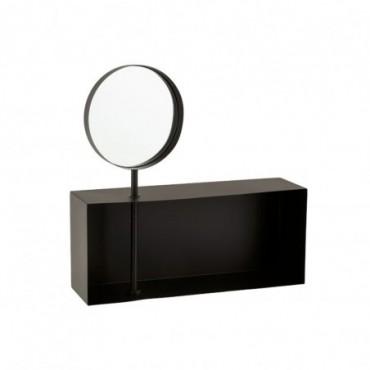 Étagère Avec Miroir Amovible Métal Noir