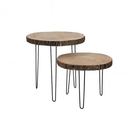 Table Gigogne Paulownia Metal Naturel Small