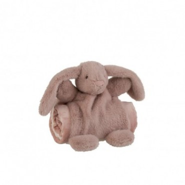 Lapin + Couverture Peluche Rose