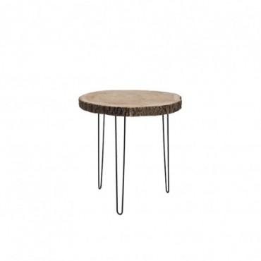Table Gigogne Paulownia/Metal Naturel Large