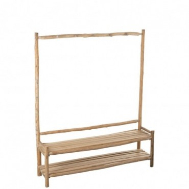 Banc + Porte-manteau 5 Crochets Hall Bois Naturel