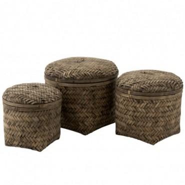 Set De 3 Paniers Tissés Avec Couvercle Bambou Marron