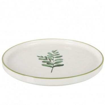 Assiette Basse Eucalyptus Porcelaine Blanc/Vert Grande taille