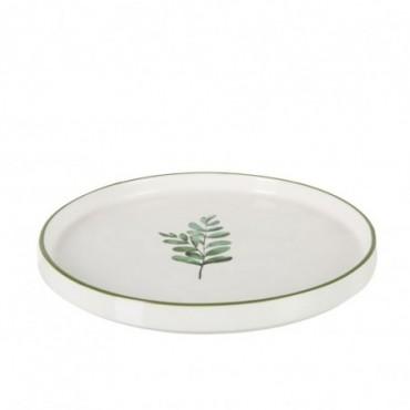 Assiette Basse Eucalyptus Porcelaine Blanc/Vert Petite taille