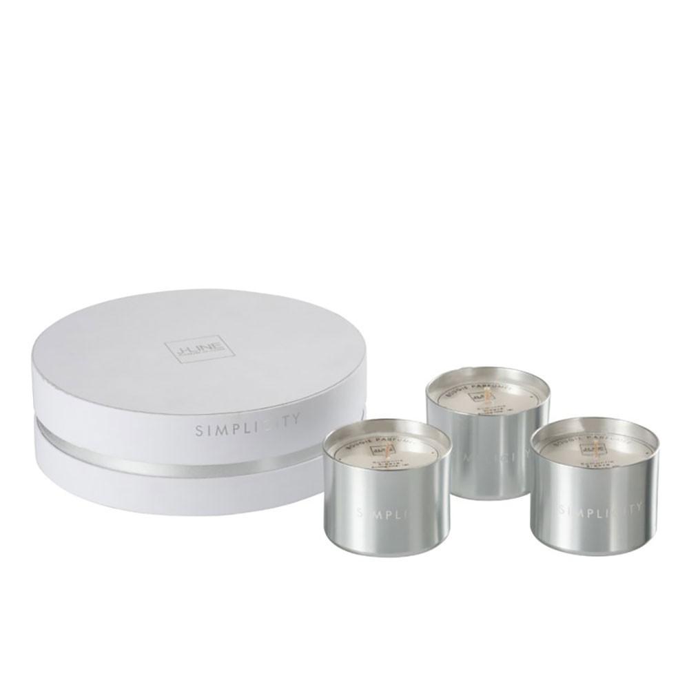 Boite 3 Bougies Parfumées Simplicity Cir Blanc/Argent 18H